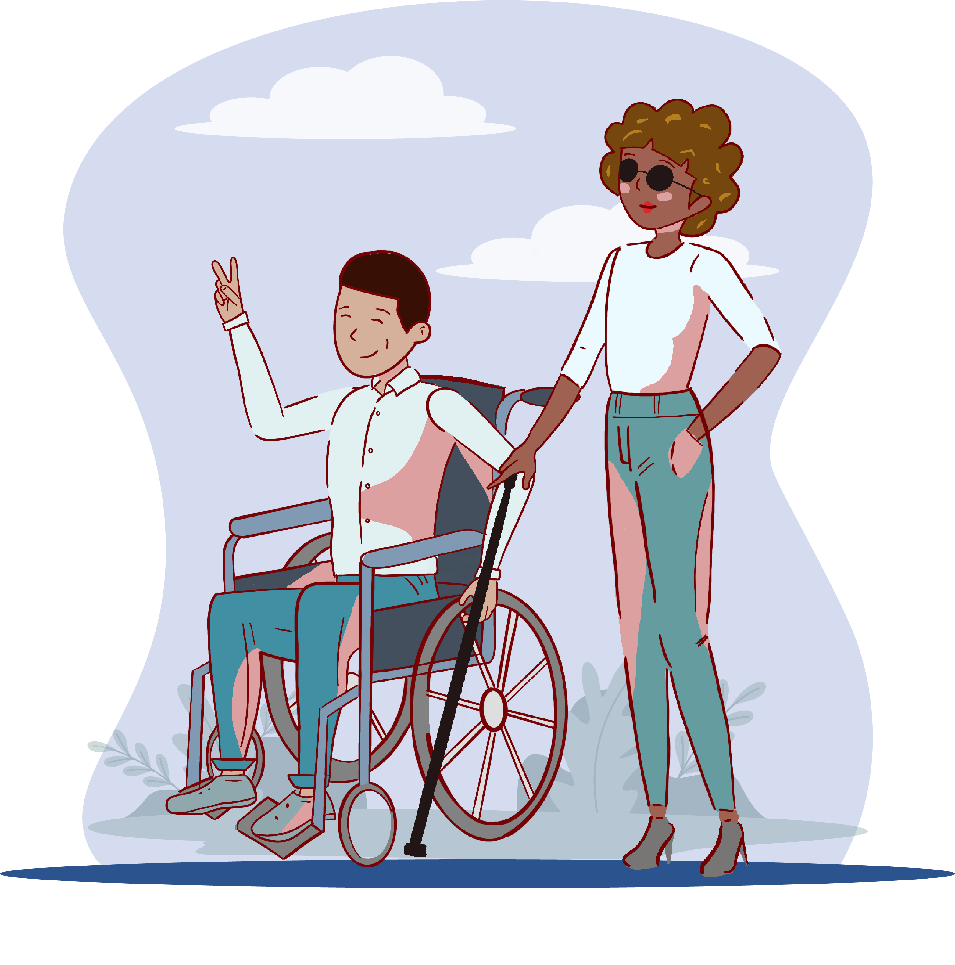 Un hombre en silla de ruedas y a su lado y una mujer no vidente con su bastón guía.